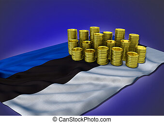 Estonian economy concept with national flag and golden coins