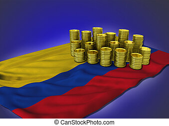 Columbian economy concept with national flag and golden...