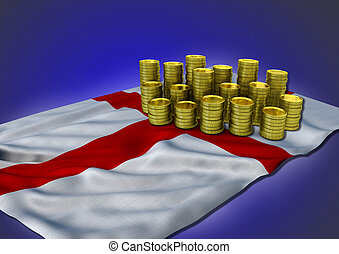 English economy concept with national flag and golden coins