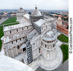 Aerial View Of Pisa Cathedral - Cathedral and Campo dei...