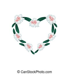 White Rhododendron Flowers in A Heart Shape - Love Concept,...
