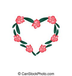 Red Rhododendron Flowers in A Heart Shape - Love Concept,...