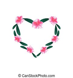 Pink Rhododendron Flowers in A Heart Shape - Love Concept,...