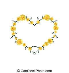 Beautiful Yellow Daisy Flowers in Heart Shape