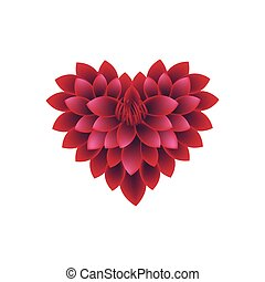 Red Dahlia Flowers in A Heart Shape - Love Concept,...