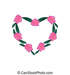 Pink Rhododendron Flowers in Heart Shape Frame - Love...