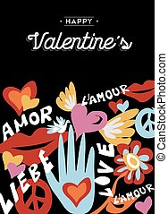 Happy Valentines day retro design with decoration