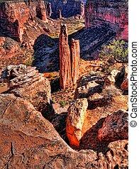 Spider Rock in Canyon de Chelly - Canyon de Chelly entrance...