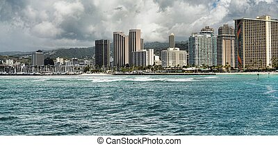 Honolulu - City of Honolulu Hawaii and Waikiki beach