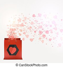 Valentine's day sale shopping bag with beautiful pink hearts.Vector background.