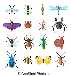 Insect icon flat set isolated on white background. Insects...