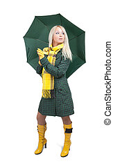 girl in green coat with umbrella over white - Blonde girl in...