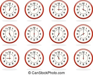 Set of red clocks for business hours