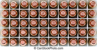 Close up of a box of new bullets in filled frame format -...