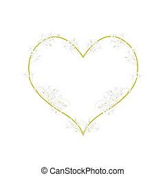White Indian Cork Flowers in A Heart Shape - Love Concept,...