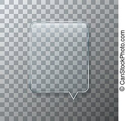 Vector modern glass bubble speech on sample background