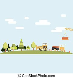 Deforestation - Forest being cleared by a tractor, truck and...