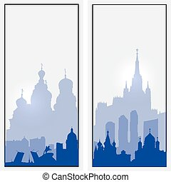 Vector Russia vertical banners St Petersburg and Moscow...