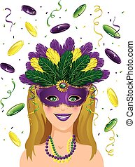 Mardi gras lady confetti - Mardi Gras background