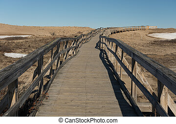 Boardwalk on Plum Island - Newbury,MA USA - April 04, 2015....