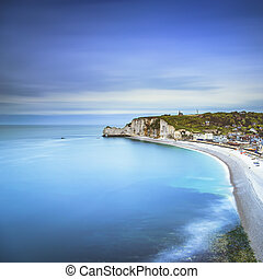 Etretat cliff, rocks landmark and ocean Normandy, France -...