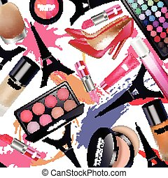 Sets of cosmetics - Illustration of Sets of cosmetics with...