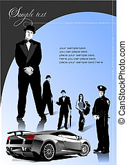 Cover for brochure with car image and people. Vector illustration