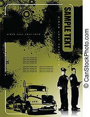 Grunge style cover for brochure with policemen. Vector illustration