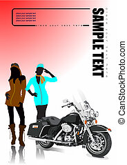Motorcycle and two girls. Vector illustration