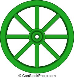 Wooden wheel in green design - Vintage wooden wheel in green...