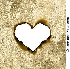 corazón, forma, Pergamino