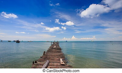 Old Wooden Pier Stretching to Azure Sea Boats at Horizon -...