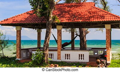 Red Roof Pavilion with Hammock on High Beach Scooter -...
