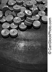 abstract plastic wheel - abstract group of plastic wheels in...