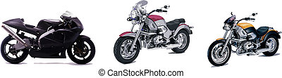 Three vector illustrations of motorcycle