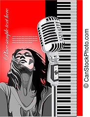 Cover for brochure with piano, microphone and singer image. Vector colored illustration