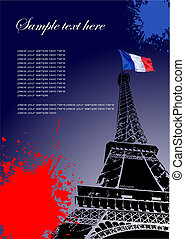 Cover for brochure with Paris image and France flag