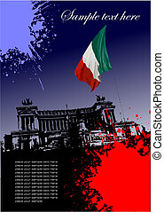 Cover for brochure with Italian image and Italian flag