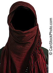 Faceless man under maroon veils, isolated on white...