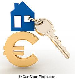 The house with a key on a euro sig - The house with a key on...