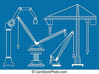 Set of construction machine crane blueprint outline vector illustration