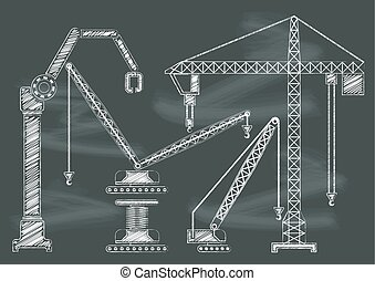 Set of construction machine crane chalkbaord blackboard vector illustration