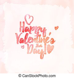 Happy Valentine day - Vector handwritten calligraphy on red...