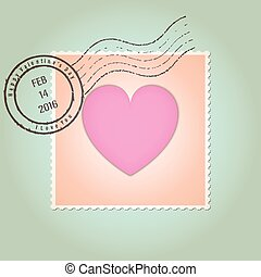Happy Valentines Day Postage Stamp Vintage Style Vector...