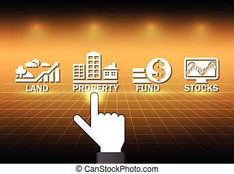 Investment - Hand and investment sign with dark background