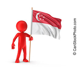 Man and Singapore flag Image with clipping path