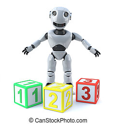 3d Robot teaches math with some counting blocks - 3d render...