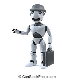 3d Business robot with bowler hat and briefcase - 3d render...
