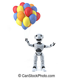 3d Robot has some beautiful balloons - 3d render of a robot...