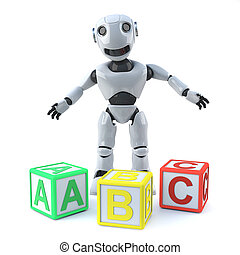 3d Robot teachs reading with alphabet blocks - 3d render of...